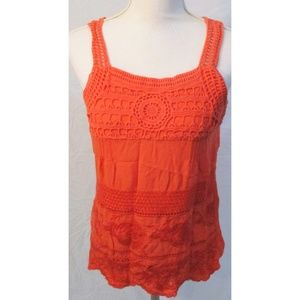 Solitaire Coral Boho Crochet Embroidered Blouse